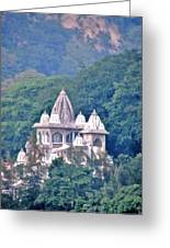 Temple In The Distance - Rishikesh India Greeting Card