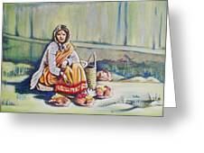 Temple-side Vendor Greeting Card