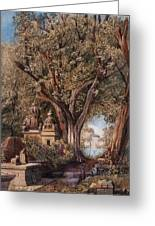 Temples And Burial Ground Near Poona Greeting Card