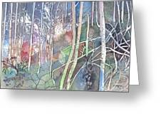 Ten Faces In The Mystical Forest Greeting Card