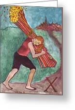 Ten Of Wands Illustrated Greeting Card