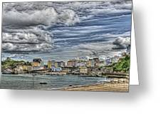 Tenby Harbour Texture Effect Greeting Card