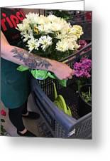Tending Flowers Greeting Card