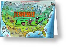 Tennessee Usa Cartoon Map Greeting Card