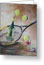 Tennis And Wine Greeting Card