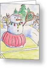 Tennis Snowlady Greeting Card