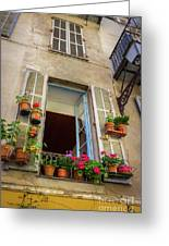 Terra Cotta Pots Outside Window In Old Town Nice, France Greeting Card