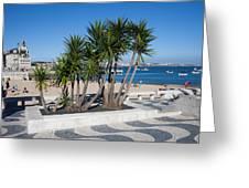 Terrace Promenade At Ribeira Beach In Cascais Greeting Card