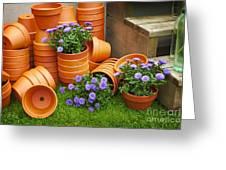 Terracotta Flower Pots Greeting Card