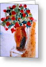 Terracotta Vase And Flowers Greeting Card