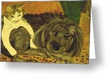 Terrier Mix And Feline Friend Greeting Card