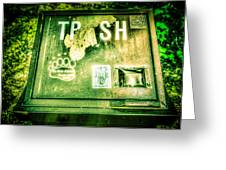 Terror At The Trash Can Greeting Card