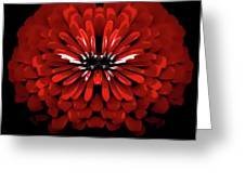 Test Red Abstract Flower 3 Greeting Card