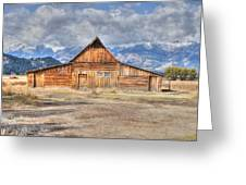 Teton Barn Front View Greeting Card by David Armstrong