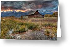 Teton Nightfire At The Ta Moulton Barn Greeting Card