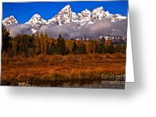 Teton Peaks Above Fall Foliage Greeting Card