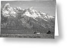 Teton Range Charcoal Sketch Greeting Card