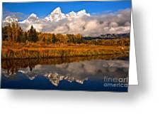 Teton Snow Cap Reflections Greeting Card