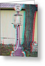 Texaco Gas Pump - Use Red-cyan 3d Glasses Greeting Card