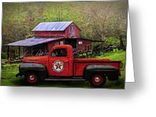 Texaco Truck On A Smoky Mountain Farm In Colorful Textures  Greeting Card