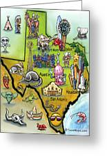 Texas Cartoon Map Greeting Card
