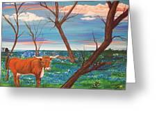 Texas Cow's Blulebonnet Field Greeting Card