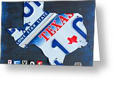 Texas License Plate Map Greeting Card by Design Turnpike