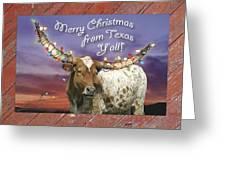 texas longhorn christmas card greeting card