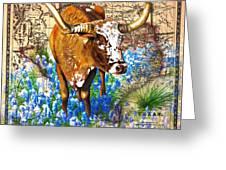 Texas Longhorn In Bluebonnets Greeting Card