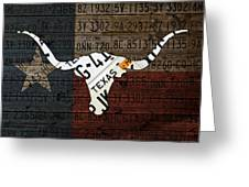 Texas Longhorn Recycled Vintage License Plate Art On Lone Star State Flag Wood Background Greeting Card