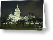 Texas State Capitol Building In Austin At Night Greeting Card