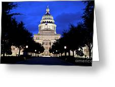Texas State Capitol Floodlit At Night, Austin, Texas - Stock Image Greeting Card