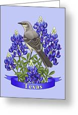 Texas State Mockingbird And Bluebonnet Flower Greeting Card by Crista Forest