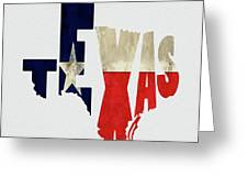 Texas Typography Map Flag Greeting Card