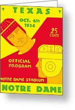 Texas Vs Notre Dame 1934 Program Greeting Card