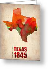 Texas Watercolor Map Greeting Card