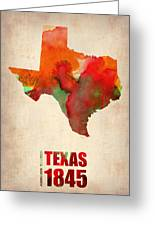 Texas Watercolor Map Greeting Card