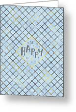 Text Art So Happy - Blue Greeting Card