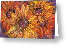 Textured Gold And Red Sunflowers Greeting Card