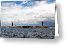 Thacher Island Twin Lights Storm Coming In Greeting Card