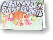 Thanksgiving At The Wagon Wheel Fence Greeting Card