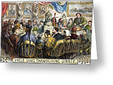 Thanksgiving Cartoon, 1869 Greeting Card