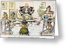 Thanksgiving Cartoon, 1898 Greeting Card
