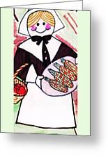 Thanksgiving Lady Pilgrim Greeting Card