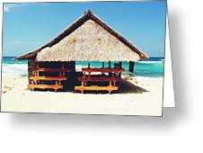 Thatched Roof Cottage/shack On A Perfect White Sand Tropical Beach Bali, Indonesia Greeting Card