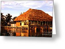 Thatched Roof Placencia Greeting Card