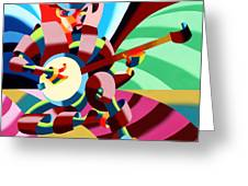 The Abstract Futurist Cowboy Banjo Player Greeting Card