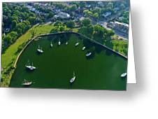 The Aerial View Of The Marina Of Mamaroneck Greeting Card