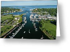 The Aerial View To The Mamaroneck Marina, Westchester County Greeting Card