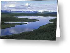The Alaska Range Reflecting In A Lake Greeting Card